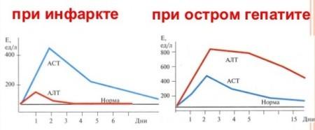 Уровень нарушения содержания алт и аст